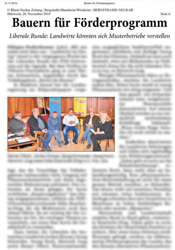Liberale Runde der FDP Edingen-Neckarhausen – Bericht aus der Rhein-Neckar-Zeitung